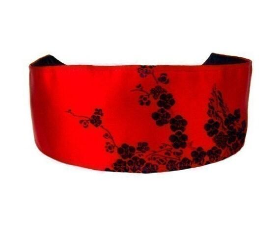Luxurious Black Cherry Flower Brocade Over Bright Red Silk, Stunning Headband