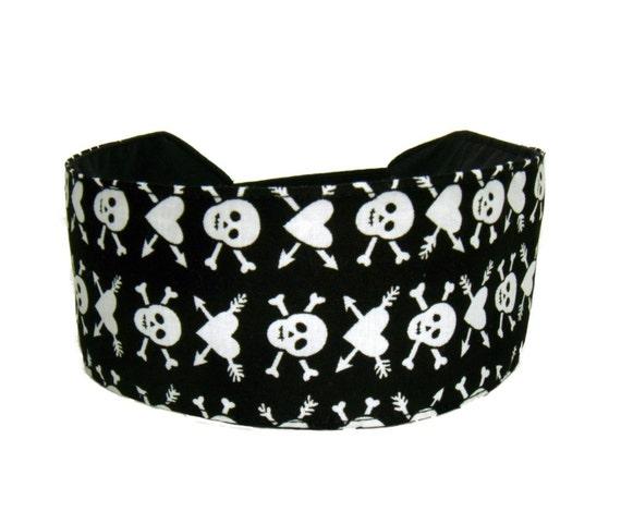 Skulls and Hearts Headband, Black and White Headband Headwrap Headwear Hairband