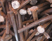 20 Rusty patina antique square nails from 150 year old farm house