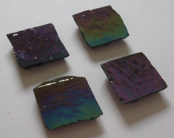 Purple and green iridescent recycled glass tile upcycled magnets set of 4