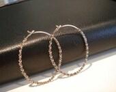 hoop earrings...antiqued sterling silver...medium oval...sterling silver RICK RACK series...hoop earrings...