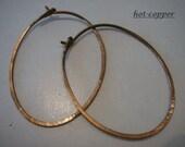 hoop earrings ...vintaj bronze copper...medium oval...plain flush catch...hoop earrings...