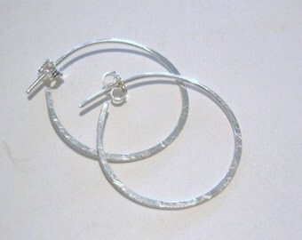 hoop earrings...Sterling silver...1 inch...CUTSIE CATCH...hoop earrings...