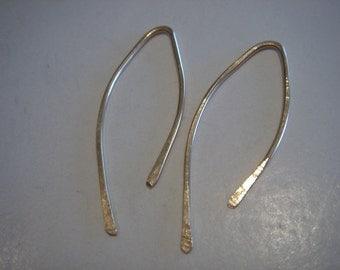 14kt gold filled...small...WISHBONE...open hoop earrings...
