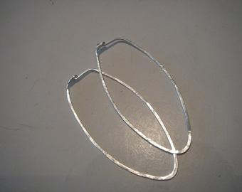sterling silver....large...SLIM FALLING LEAVES...hoop earrings...