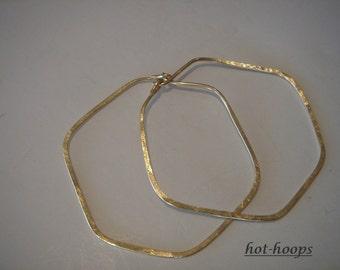 hoop earrings ...14kt gold filled...large...SCALLOPED...hoop earrings...