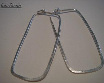 sterling silver..1.75 x .75 inch..SLIM OBLONG..hoop earrings..
