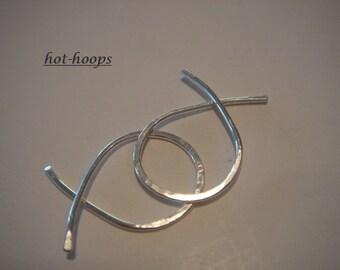 hoop earrings ...sterling silver..1/2 inch...FISHTAIL...hoop earrings..