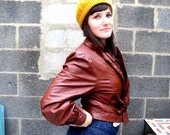 Brown Leather Jacket - Small