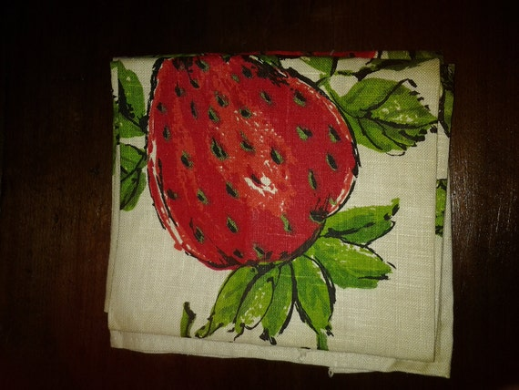 Pair of Linen Strawberry Tea Towels on SALE