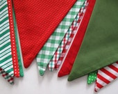 christmas bunting pennant flags, made with vintage fabrics