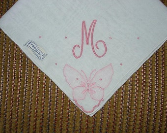 Vintage White Hanky with a Pink Initial M - Hankie Handkerchief