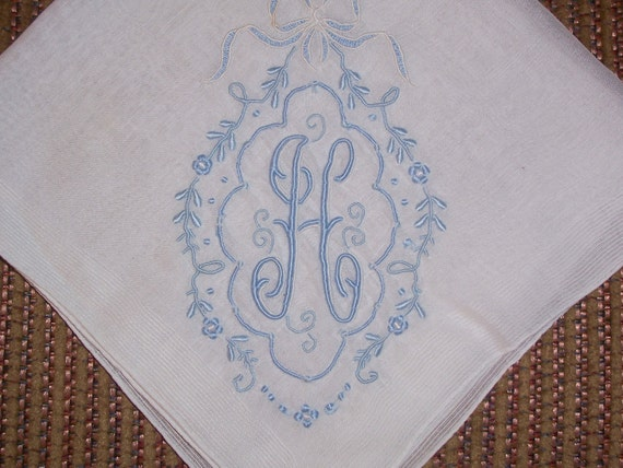 Vintage White Hanky with a Something Blue Initial H - Hankie Handkerchief