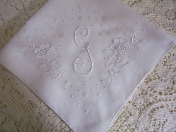 Vintage Wedding Hanky with Initial G - Hankie With Hand Embroidery Handkerchief