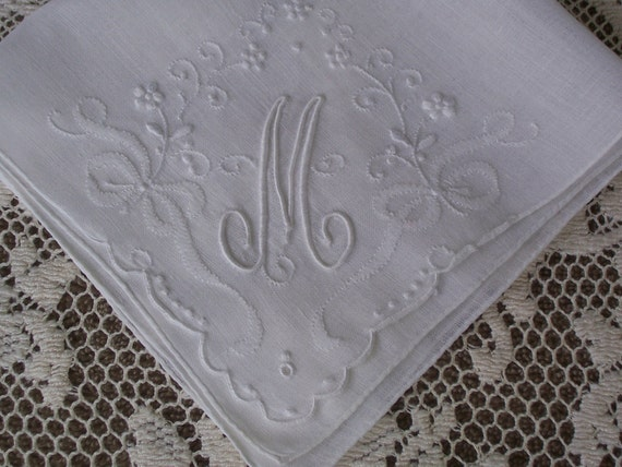 Vintage White Hanky with an Initial M  - Hankie Handkerchief