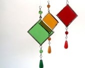 Set of Three Stained Glass Light Catchers Holiday Colors