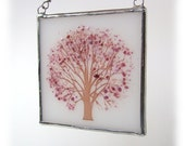 Cherry Blossoms Tree Fused Glass Suncatcher Light Catcher