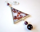 Modern Christmas Tree Ornament Fused Glass Purple Damask