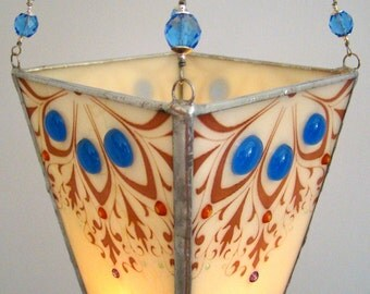 SALE  Fused Glass Hanging Candle Lantern Elegant Candleholder