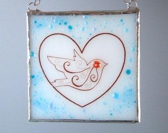 Swirly Love Bird Heart Fused Glass Suncatcher Light Catcher