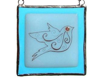 Suncatcher Fused Glass Blue Bird Light Catcher