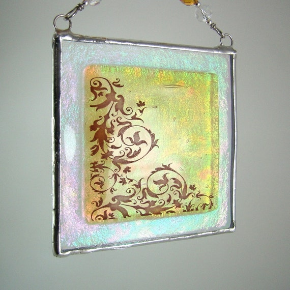 Amber Scrollwork Fused Glass Light Catcher