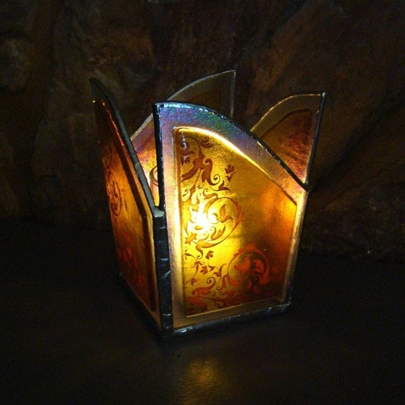 Fused Glass Candle Holder Golden Amber Damask Iridescent Holiday