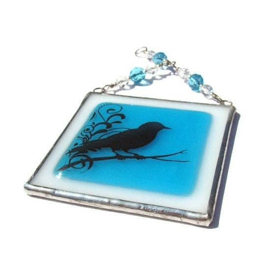 Bird Fused Glass Suncatcher Light Catcher Aqua Swirly Branch