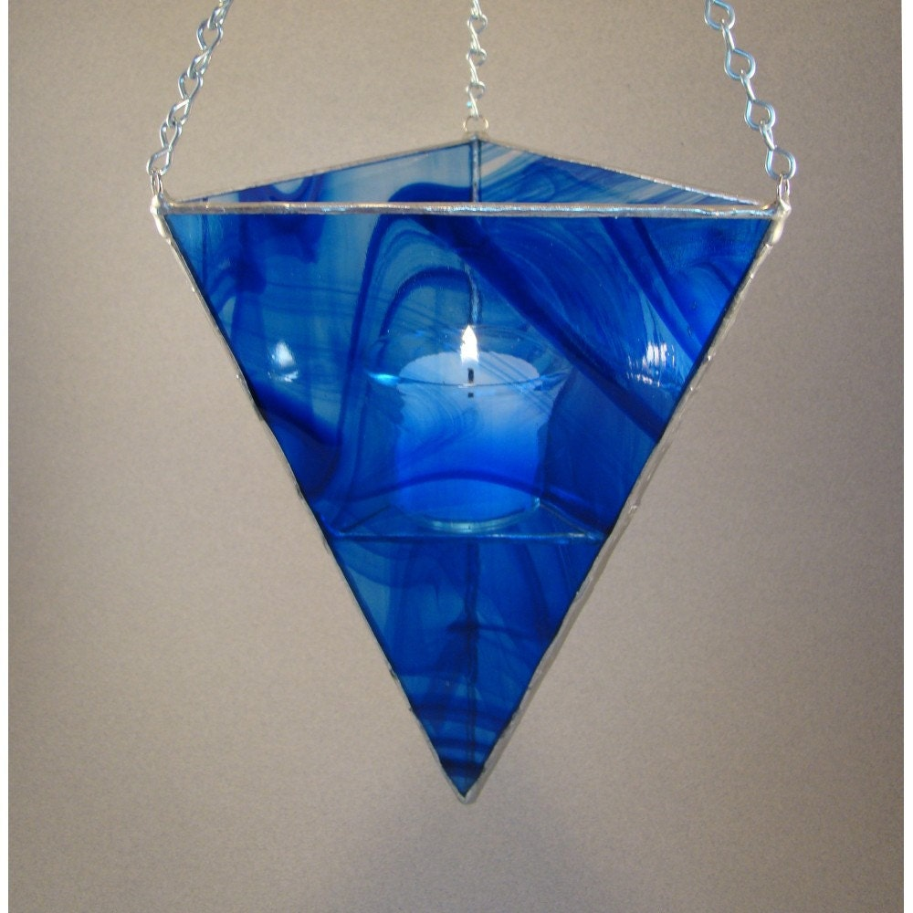 Lantern Stained Glass Hanging Candle Holder Cobalt By
