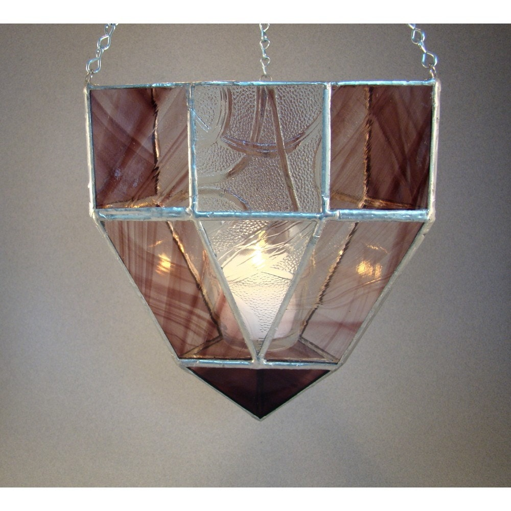 SALE Hanging Lantern Stained Glass Candle Holder Amethyst