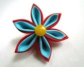 Kanzashi Fabric Flower Clip -  Red and Turquoise
