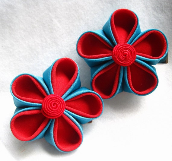 Retro Combo - Fabric Hair Flower Clips