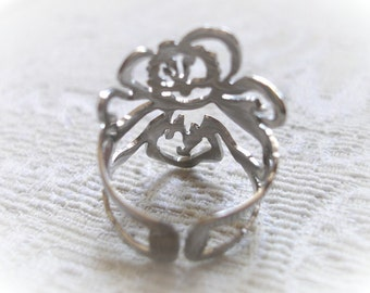 Stainless Bloom Ring Adjustable (free shipping)