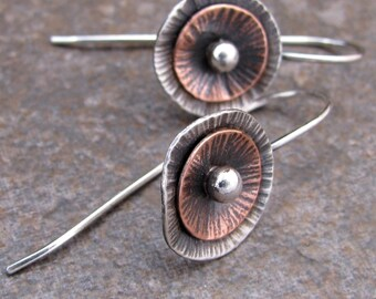 Sterling and Copper Poppy Earrings