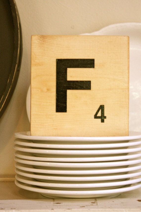 Letter F giant SCRABBLE LETTER on WOOD