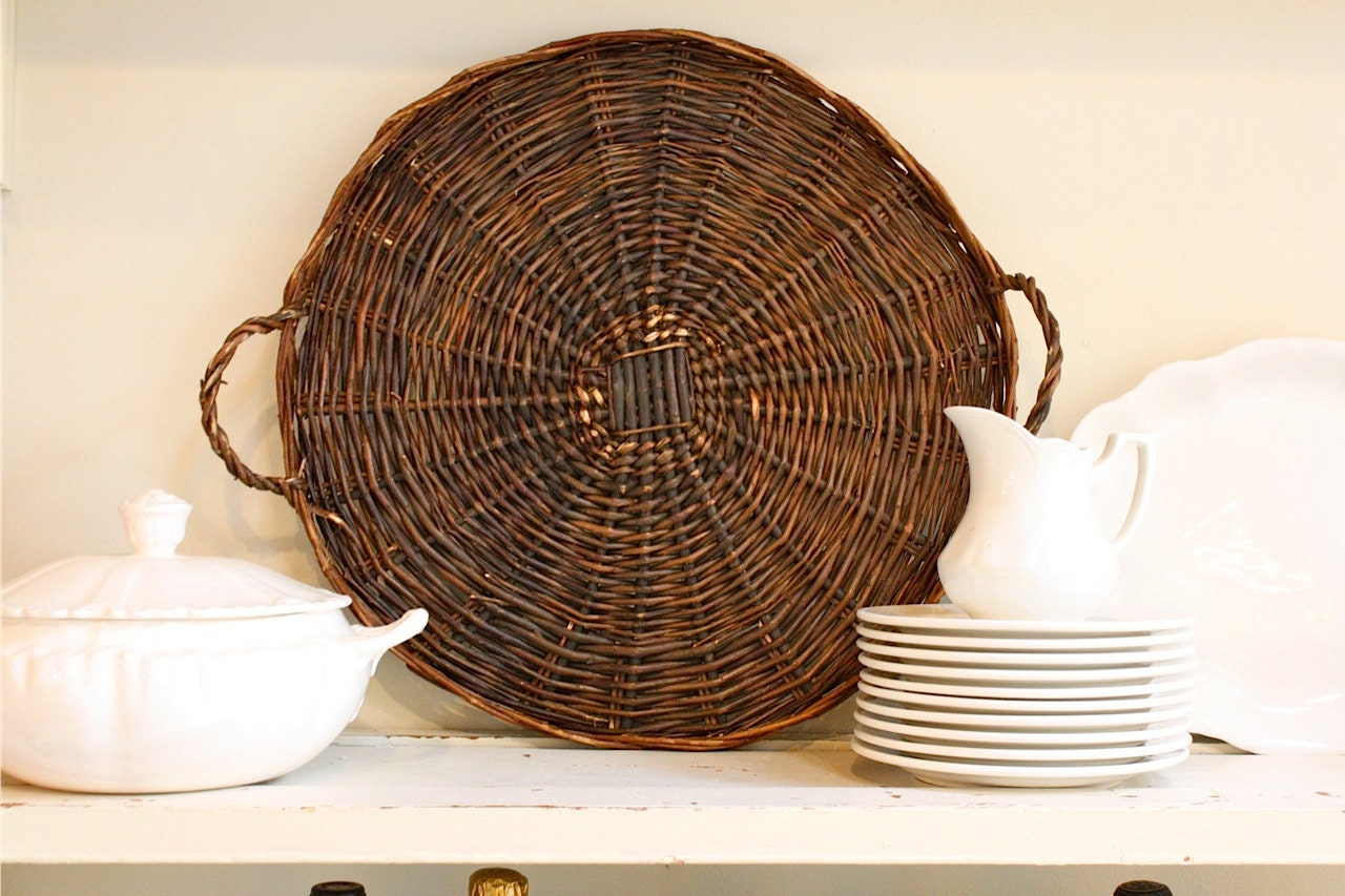 Large Round Wicker Baskets With Handle : Large round basket tray with handles