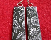 SALE - white and black asian design earrings