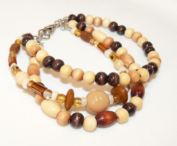 Multi-Strand, African trade Wood. Caramel Bead Bracelet. Handcrafted Artisan Jewelry