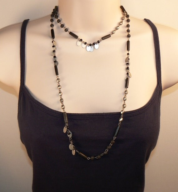 Rustic Silver. Black African Trade Wood. Long Necklace