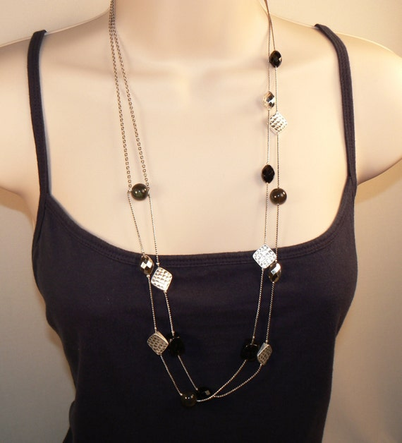 Rustic Silver, and Black Necklace