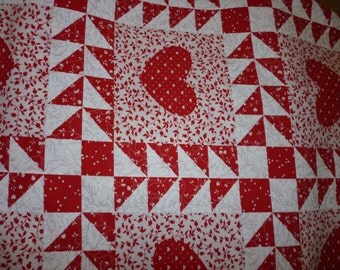 Red and White Patchwork Quilt -Style Fabric  Almost a yard
