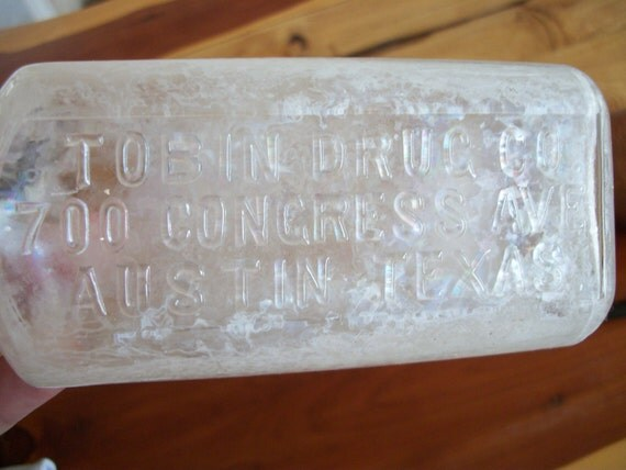 OLD Tobin Drugs Medicine Bottle from Austin Texas circa 1900