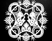 Hornblower Angels - Hand Cut Hanging Kirigami Mandala