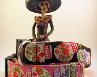 Dog Collar - Day of the Dead Sugar Skulls  - Martingale & Buckle 3/4 - 2 Inch Width
