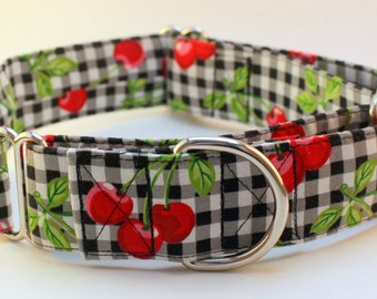 Dog Collar - Martingale & Buckle 3/4 - 2 Inch Width - Cherry Picnic  -- XS - XXL