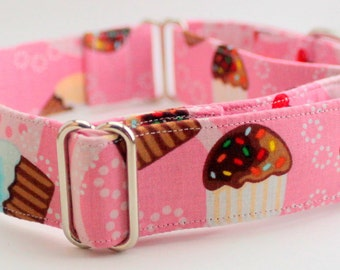 Dog Collar - Martingale & Buckle 3/4 - 2 Inch Width - Cupcake and Cherries