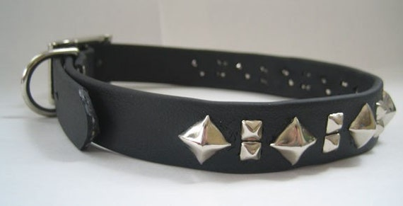 Dog Collar Faux Leather 1 Inch Width Pyramid Studded  - Vegan, Fake Leather