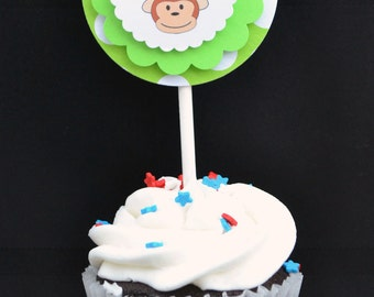Cupcake Toppers, Set of 12, Green Monkey, Happy Birthday