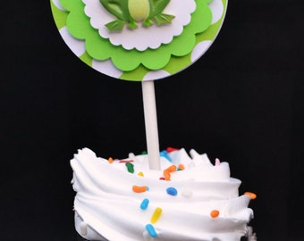 Cupcake Toppers, Set of 12, Green Frog