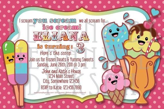 Ice Cream Invitation Birthday Boy or Girl - Personalized DIY Printable Invite - JPG